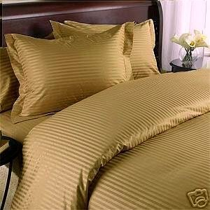 Stripes Bronze 300 Thread Count Full/Queen Duvet Cover Set 100 % Egyptian Cotton 3Pc Comforter Cover Set Button Enclosure By Sheetsnthings front-1013415