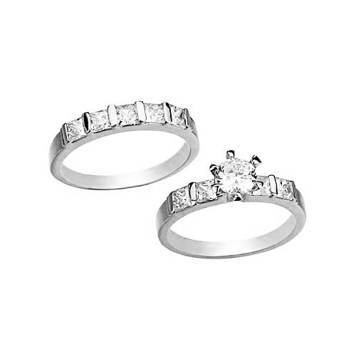 5mm-Round Cut Center Stone CZ Wedding Ring Set- 14KT White Gold Filled CZ Wedding Rings set by gemgem Jewelry