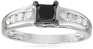 10k White Gold Princess-Cut Black and White Diamond Engagement Ring (1 Cttw, G-H Color, I3 Clarity), Size 6