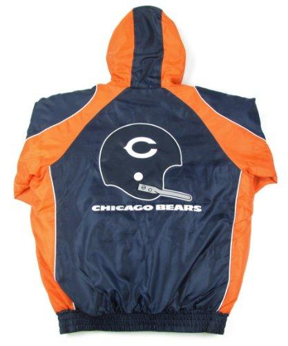 Top Chicago Bears Vintage Logo Full Zip Hooded Winter Coat (Medium)