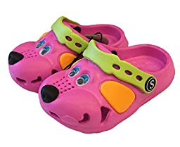 Fresko Kids Puppy Dog Slip On Water Shoe Clogs (Hot Pink, 6)