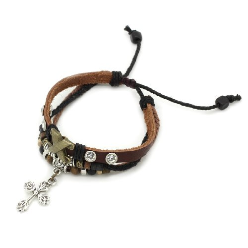 3-Strand Genuine Leather Adjustable Wristband / Bracelet with Rings, Rhinestones & Cross