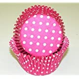 Oasis Supply Baking Cups in Pink Polka Dot, Jumbo, 100-Count, Pink/White
