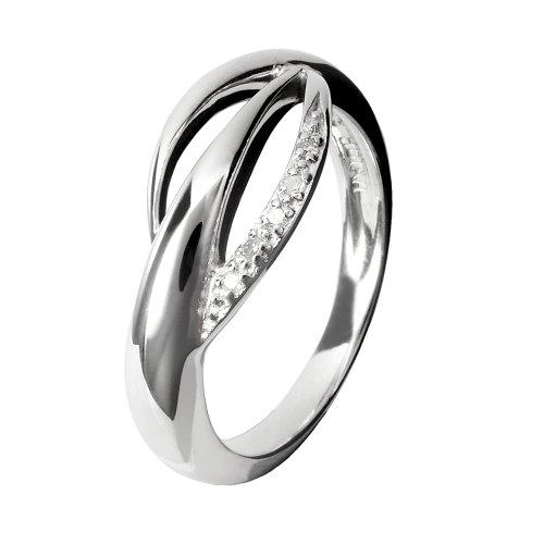 2dcc947b072 Hot Diamonds - DR078 K - Bague Femme - Argent 925 1000 3.1 Gr - Diamant 0.01  Cts - T 50