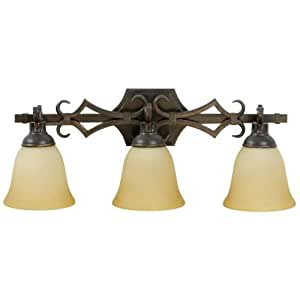 Stained Glass Vanity Light Fixtures : Craftmade 10925AG3 Vanity Light with Tea-Stained Glass Shades, Aged Bronze Finish - Vanity ...