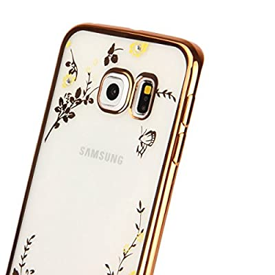 Galaxy S7 Case,[Secret Garden] HAOTP(TM) Beauty Luxury Butterfly Floral Flower Diamonds Shiny Plating Frame Plating Bumper Soft Flexible TPU Transparent Skin Case for Samsung Galaxy S7--Swarovski