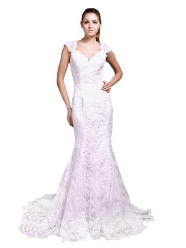 Topwedding Robe de mariee en dentelle partout avec sirene Style et dos-nu, ivoire, 48