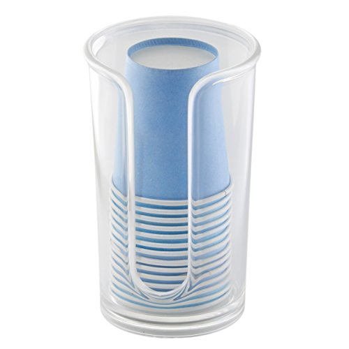 mDesign Disposable Paper Cup Dispenser for Bathroom Countertops - Clear (Bathroom Cup Holder compare prices)