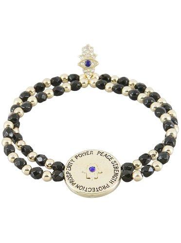 Gold Black Onyx Evil Eye Charm Bracelet