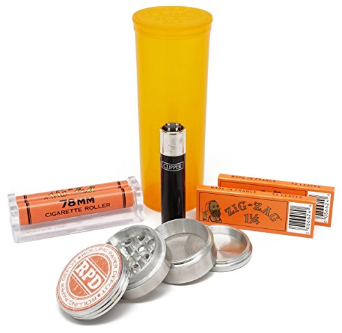 Bundle-6-Items-Zig-Zag-1-14-Rolling-Paper-and-Roller-with-Grinder-Storage-Container-and-Clipper-Lighter
