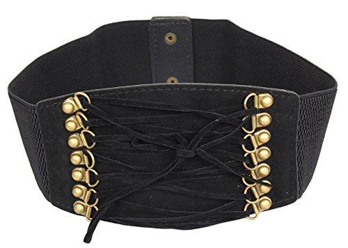 Calonice Amorino Accessorio da donna fascia elastica nera con anelli Dorati e lacci neri Taglia unica 30x1x10 cm (LxHxP) 25501