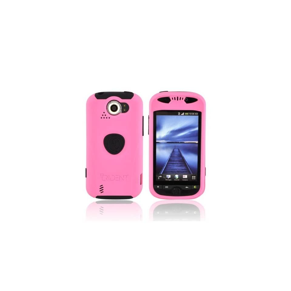Pink Black OEM Trident Aegis Anti Skid Hard Cover Over Silicone Case w Screen Protector & 3.5mm Audio Jack Extender, AG MTS PK For HTC Mytouch 4G Slide