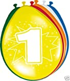 Toy - Ballon bunt Luftballons Zahl 1 Geburtstag 8 St. Deko Ballons Party