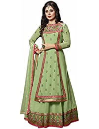 Aryan Fashion Designer Green Embroidered Georgette Semi-Stitched Salwar Suit For Women & Girls Party Wear For...