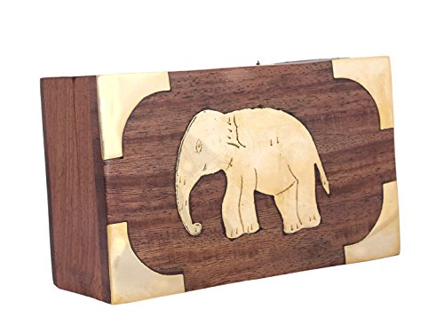 Mothers Day Gift Gorgeous Hand Crafted Wooden Keepsake Box with Brass Elephant Motif