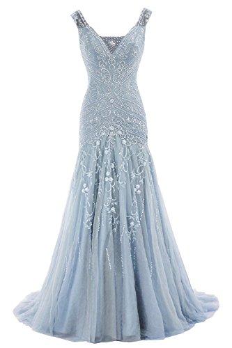 844541dd9e6 HTYS Women s Mermaid V Neck Beaded Wedding Dress Prom Gown With Train HY005