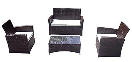 Baidani Gartenmöbel-Sets 10d00008.00002 Designer Garnitur Breeze, 1 Tisch mit Glasplatte, 2-er-Sofa, 2 Sessel, braun