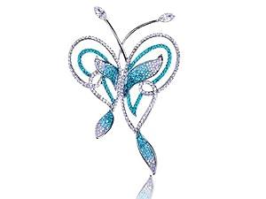 Zircon Blue Abstract Butterfly Outline Swarovski Crystal Rhinestone Pin Brooch