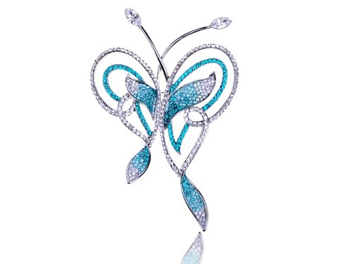 Zircon Blue Abstract Butterfly Outline Swarovski