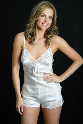 Self Coloured Lace Silk Camisole and French Knickers set by Silk Cocoon
