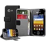 Negra Cartera Funda de Cuero para Samsung S5360 Galaxy Y - Flip Case Cover + 2 Protectores de Pantalla