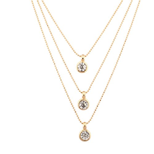 Lux Accessories 3PC Crystal Stone Disc Multi Layer Charm Bridal Necklace Gift Set