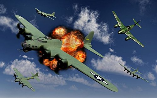 A German Me 262 jetfighter attacking B-17 Flying Fortress bombers. 16 x 20 Poster