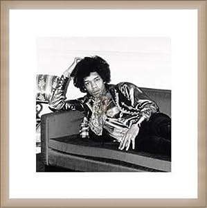 ポスター フォトグラフ Jimi Hendrix London England 1967 額装品 ウッドベーシックフレーム(オフホワイト)