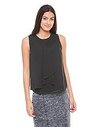 Shuffle Women's Embellished Shirt (1021502502_Black_Medium)