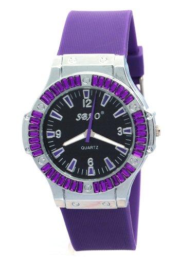 SBAO Lady Wrist Watch Round Dial Quartz Hours Analog Rubber Band Purple Watches