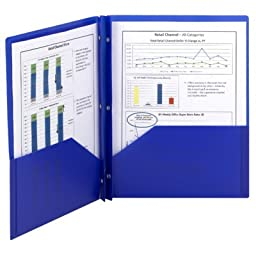 SMEAD Poly Two-Pocket Folder with Fasteners, 8-1/2 x 11 Inches, Blue, 25/Box (SMD87726)