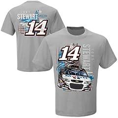 Tony Stewart #14 NASCAR Mobil One Restart T-Shirt - Grey by Checkered Flag
