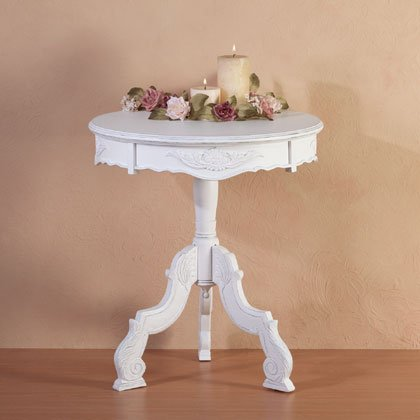 Shabby Elegance Distressed White Rococo Accent Table