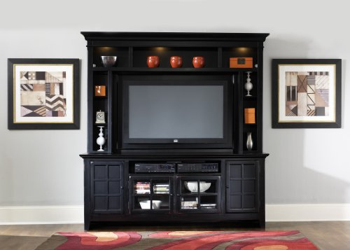 Cheap LIBERTY 540 ENTERTAINMENT CENTER TV STAND & MOUNTABLE HUTCH RUBBED BLACK NEW (540-ENT)