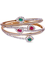 Viva Designer Pink & Green Bangle Set In CZ Crystal Diamonds With Gold Two Tone Plated By Viva The Company For...