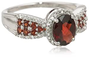 10k White Gold Checkerboard Oval Garnet Center with Round Garnet and Diamond Ring, Size 8