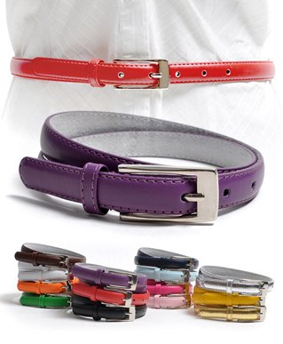 Solid Color Leather Adjustable Skinny Belt with