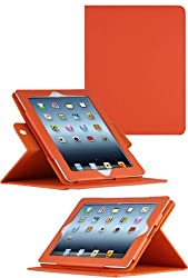 HHI 360 Dual-View Multi Angle Folio Case Cover for The new iPad (3rd Generation) - Orange (Built-in magnet for sleep and wake feature) (Package include a HandHelditems Sketch Stylus Pen)
