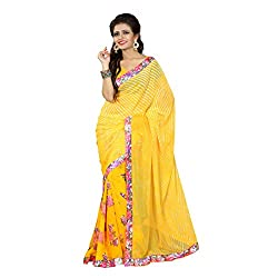 Mahadev Enterpris Women's Georgette Saree Printed Less Works Border With Unstitched Blouse Piece (Yellow , Freesize , MPJ_367 )
