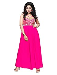 BanoRani Rani Color Faux Georgette With Golden Flower Net Unstitched Pleated Gown