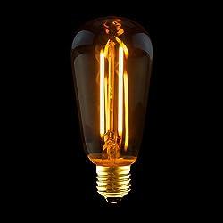 LED Rustika Filament Edison Glühbirne 2W E27 Gold extra warm 1800K ST19 Kolbenform