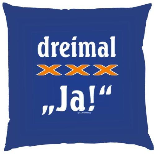 Kissen mit Innenkissen – Dreimal xxx Ja! – 40 x 40 cm – in royal-blau günstig bestellen