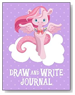 Draw and Write Journal For Girls - A pink unicorn on a white cloud against a purple polka dot background makes a cute cover for this draw and write journal for younger girls.