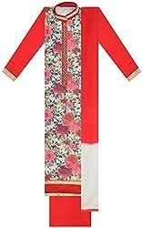 Seema Women's Silk Unstitched Salwar Suit (Green & Red)