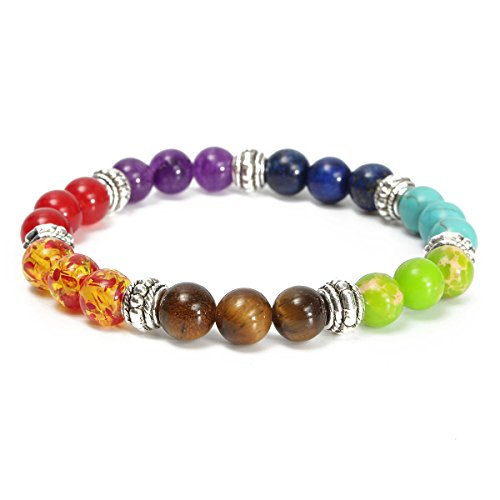 Charminer 8mm/0.3'' Chakra Stone Crystal Reiki Healing Balanced Beads Imperial Amethyst Buddha Bracelet