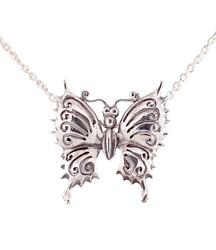 Decorum Jewellery Sterling Silver 925 Elegant Butterfly Pendant with 18