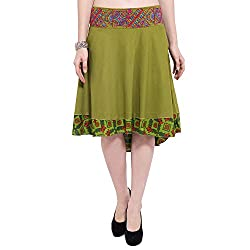 TUNTUK Women's Saniya Skirt Green Cotton Skirt