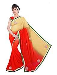 Beautiful Beige Red Georgette Party Wear Printed Saree