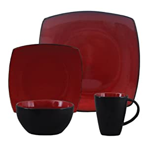 Gibson Bella Soho 16 Piece Square Reactive Glaze Dinnerware Set