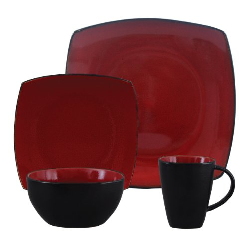 Gibson Bella Soho 16-Piece Square Reactive Glaze Dinnerware Set, Red/Black
